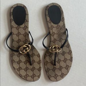 Gucci GG Beige Ebony Leather Trim Thong Sandals